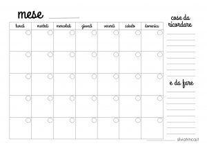 planner mensile a4 da stampare