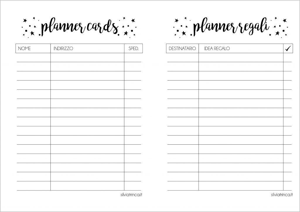 planner cards e planner regali Natale a5 da stampare