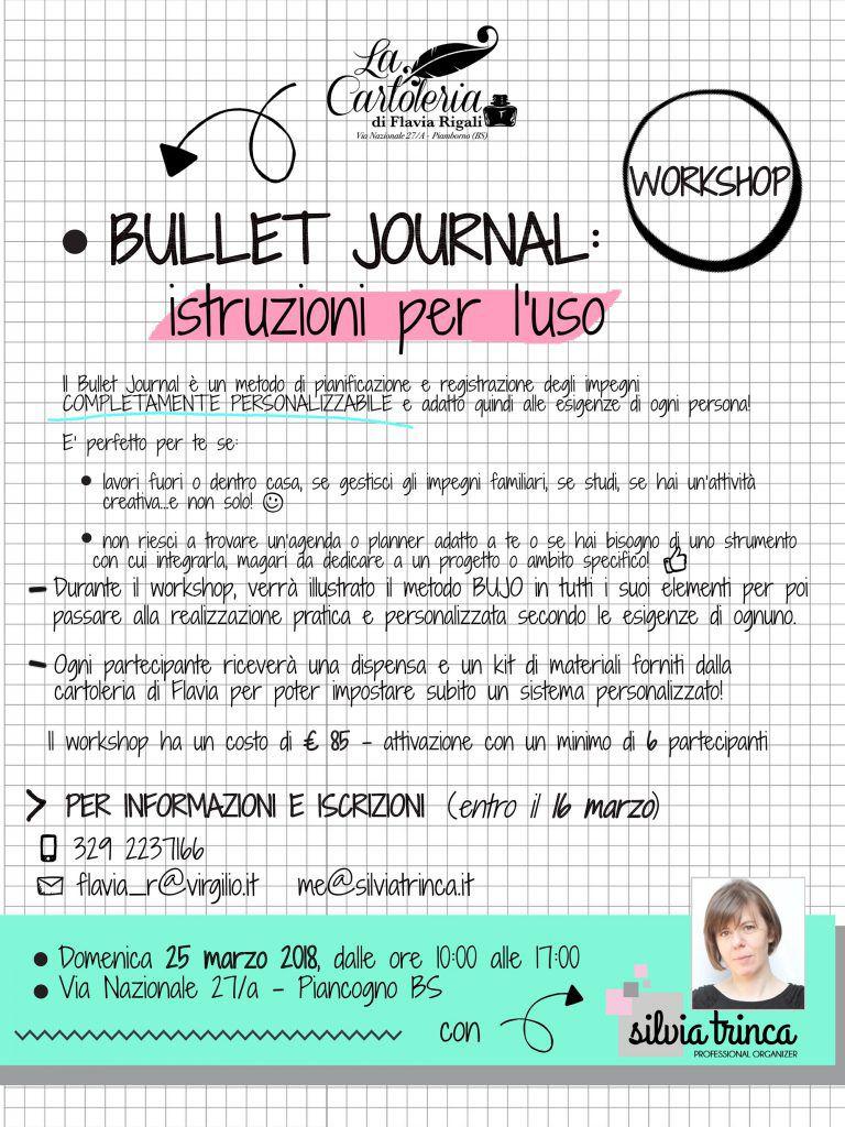 Locandina corso Bullet Journal 25 marzo