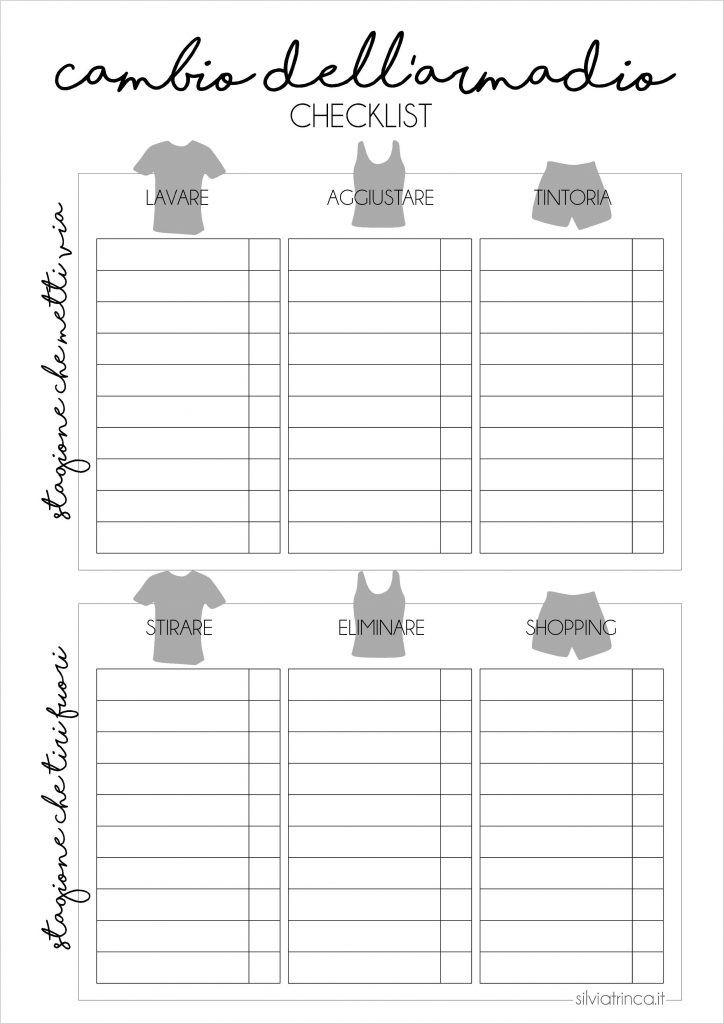 Checklist cambio dell'armadio - pdf da stampare