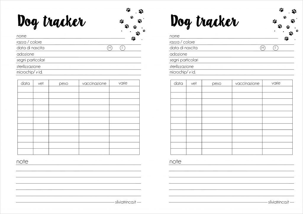 dog tracker formato a5 - da stampare