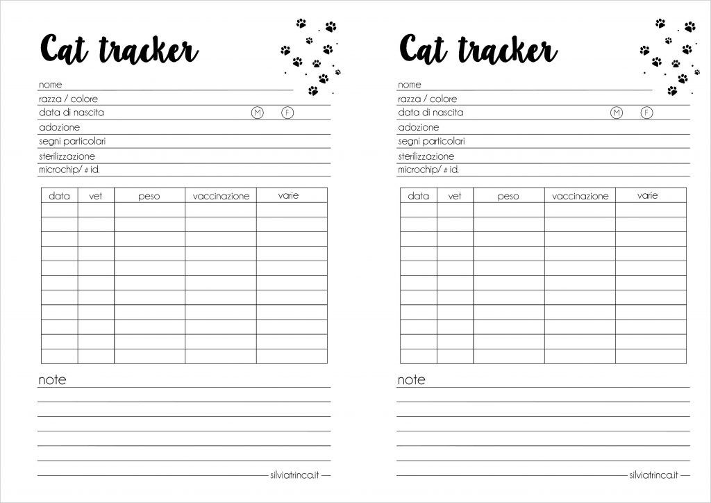 cat tracker formato a5 - da stampare