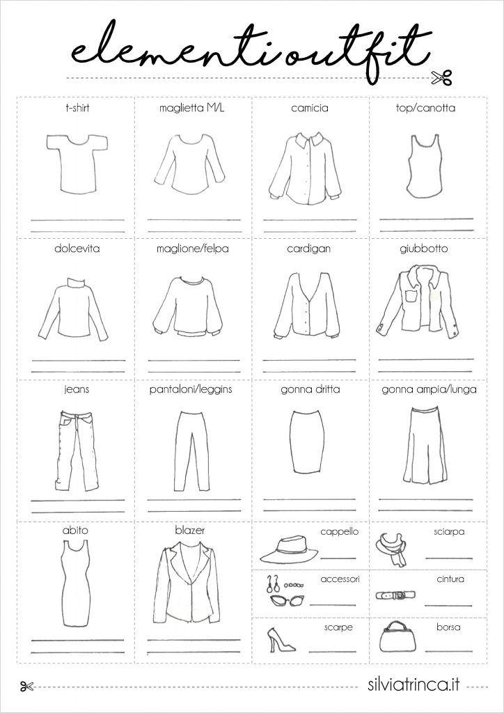 elementi outfit da ritagliare