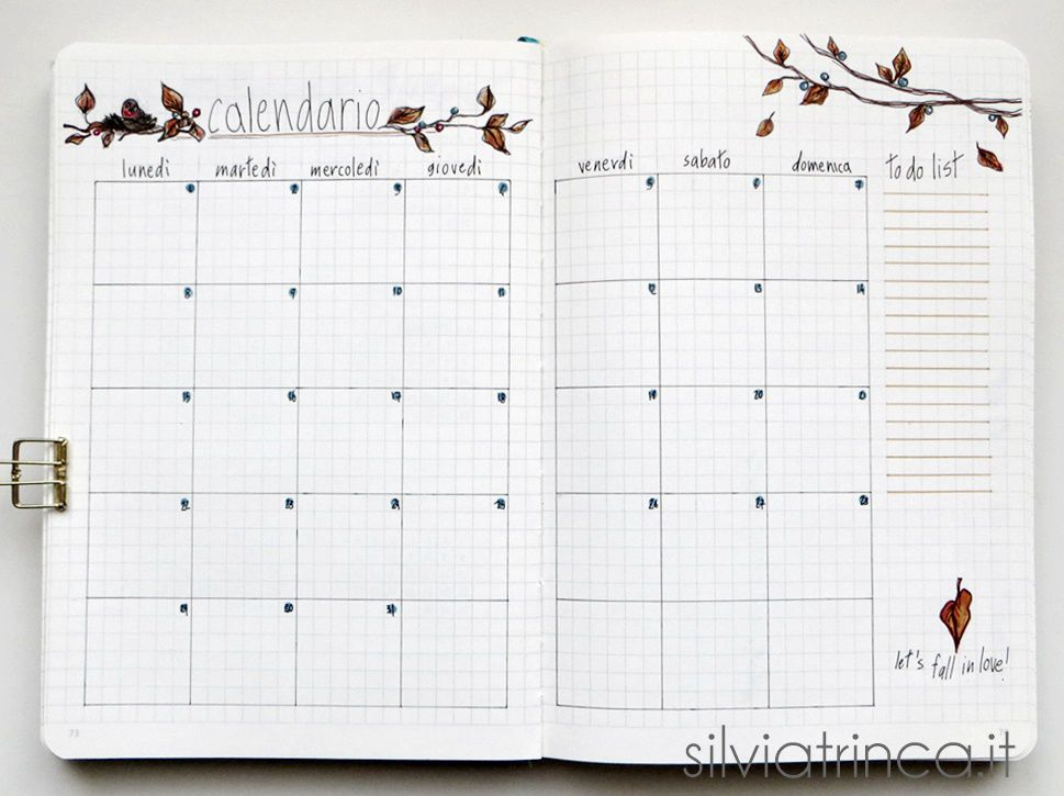 Bullet Journal - calendario e to do list ottobre 2018