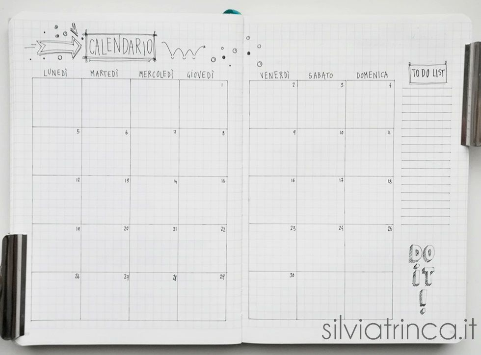 Bullet Journal - calendario e to do list novembre 2018