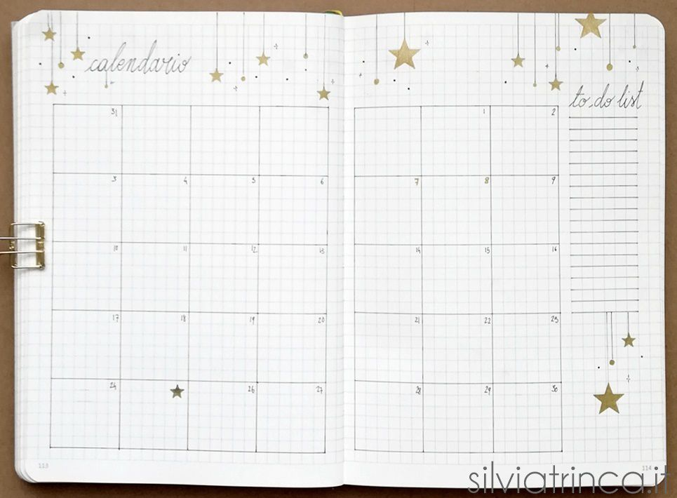 Bullet Journal - calendario e to do list dicembre 2018