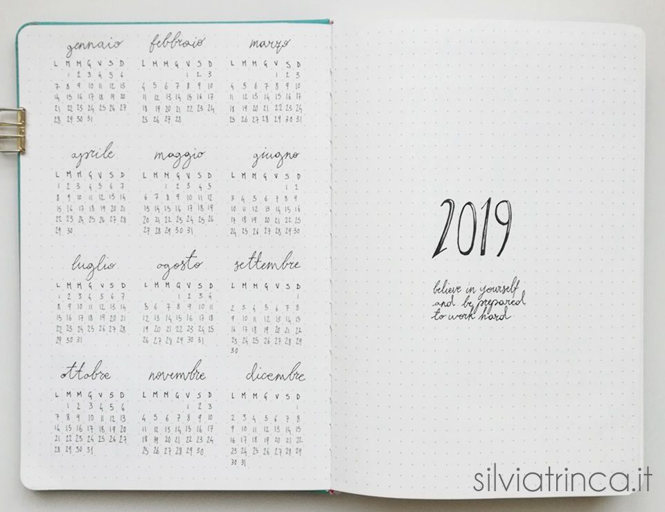 Pagina Di Calendario Agosto 2019.Set Up Del Bullet Journal 2019 E Calendario A4 Da Stampare